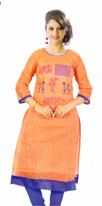 SMC DESIGN 305-PEACH 2 FULL SLEEVES COTTON LINEN KURTI