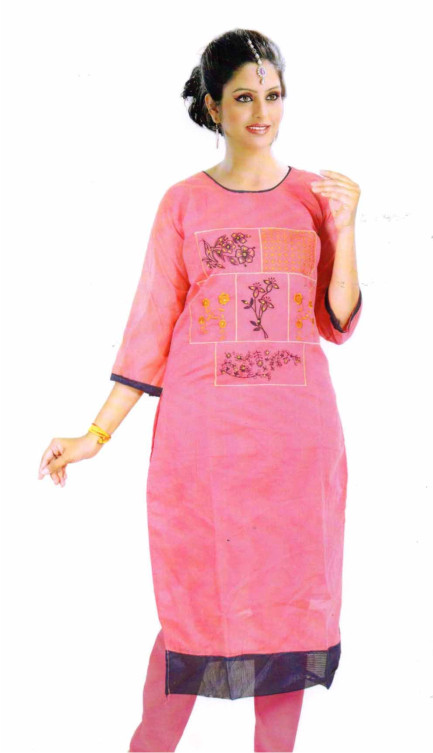 SMC DESIGN 305-PINK 2 FULL SLEEVES COTTON LINEN KURTI