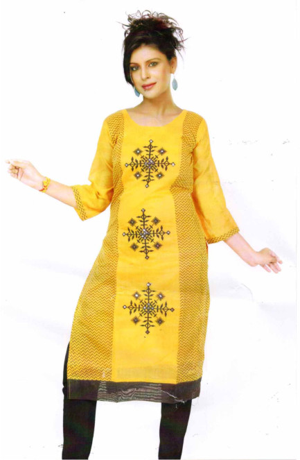 SMC DESIGN 305-YELLOW FULL SLEEVES COTTON LINEN KURTI