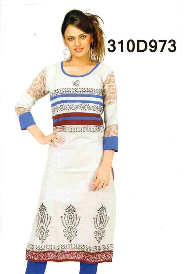 SMC DESIGN 310-BLUE STYLISH COTTON LINEN KURTI