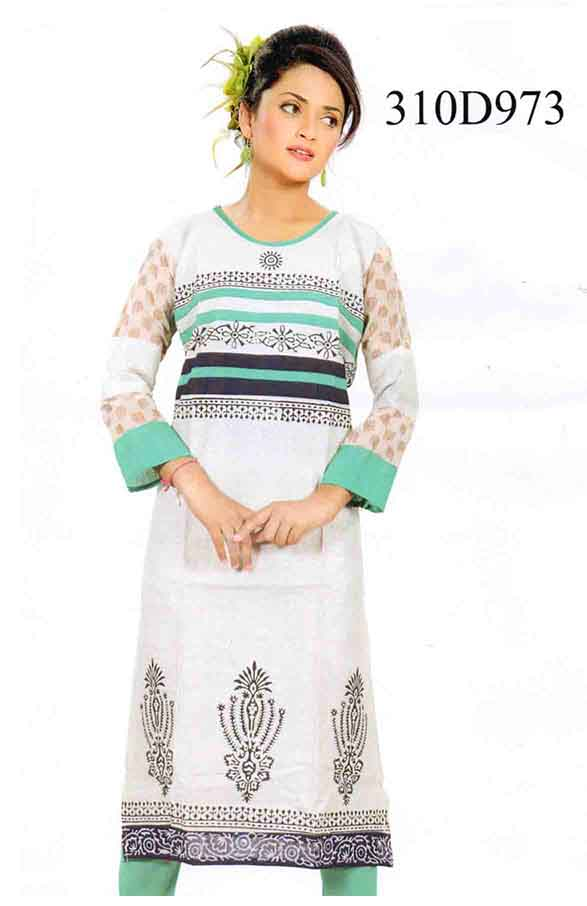 SMC DESIGN 310-GREEN STYLISH COTTON LINEN KURTI