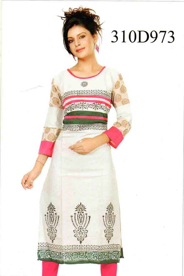 SMC DESIGN 310-PINK STYLISH COTTON LINEN KURTI