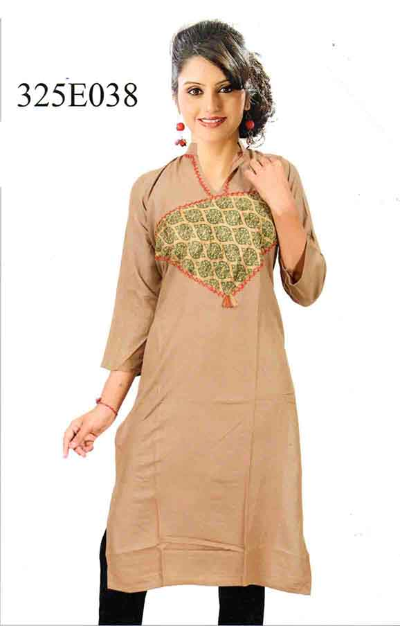 SMC DESIGN 325-KHAKI STYLISH RAYON KURTI