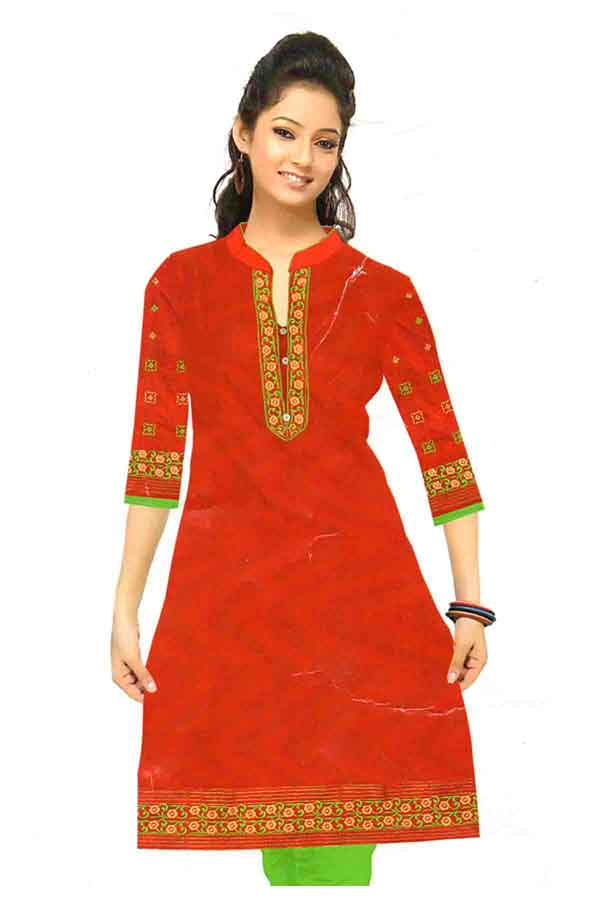 SMC DESIGN 350-RED STYLISH COTTON LINEN KURTI