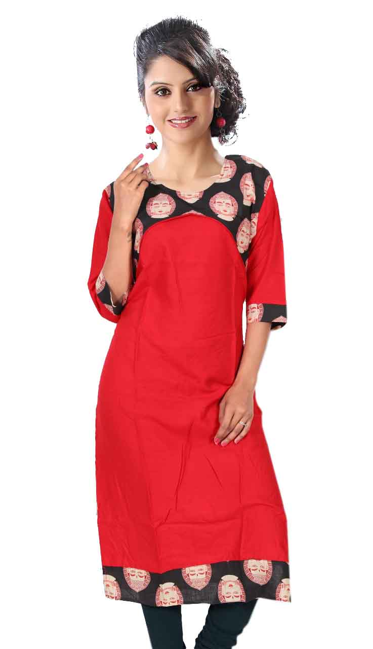 KALAMKARI DNO 3501-RED/BLACK RAYON FULL SLEEVES KURTI