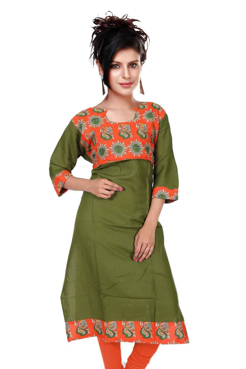 KALAMKARI DNO 3503-GREEN RAYON FULL SLEEVES KURTI