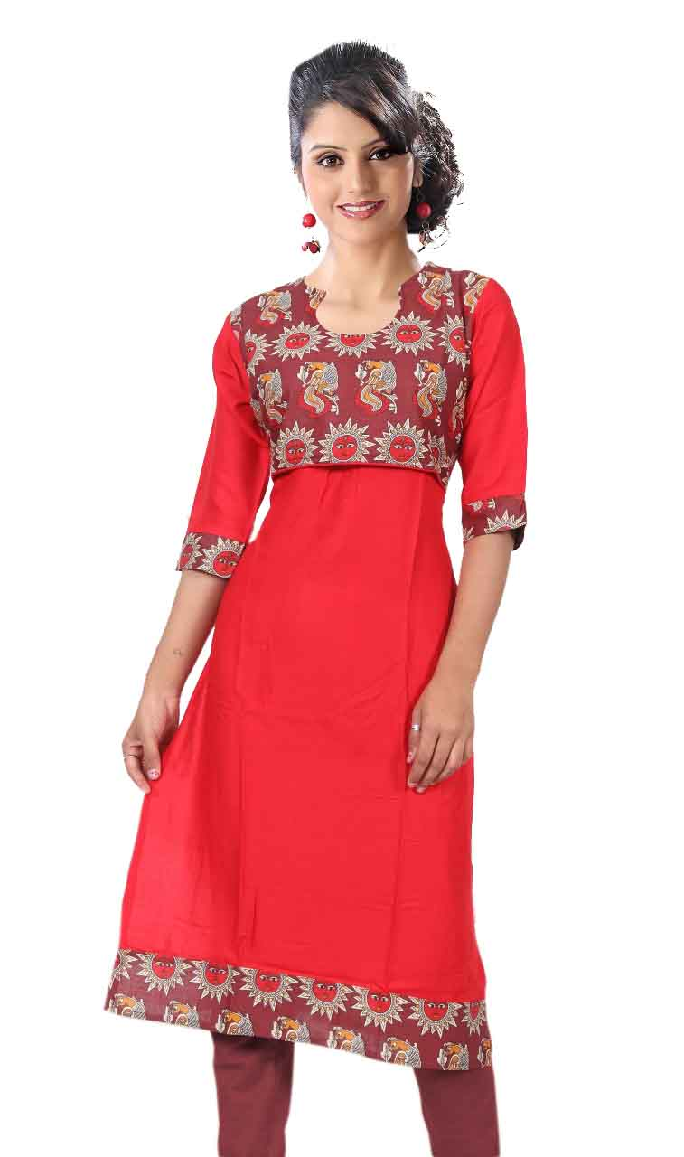 KALAMKARI DNO 3503-RED RAYON FULL SLEEVES KURTI