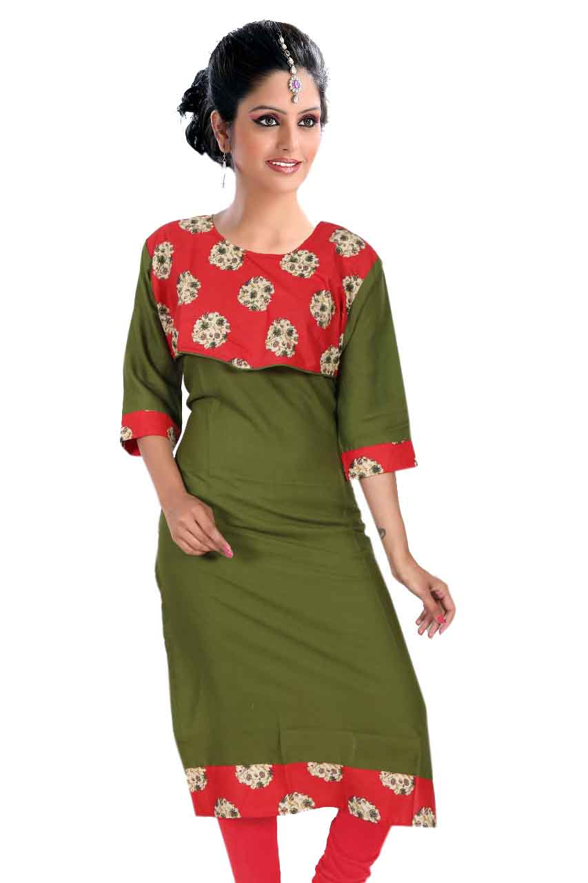 KALAMKARI DNO 3505-GREEN RAYON FULL SLEEVES KURTI