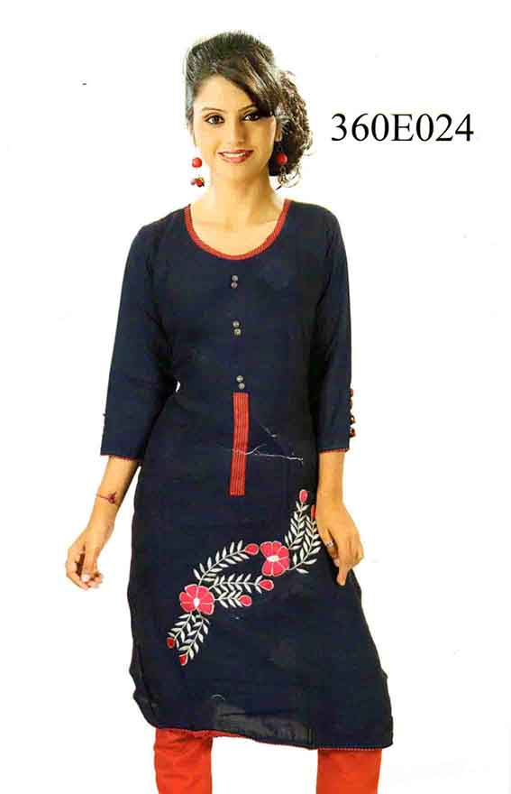 SMC DESIGN 360-NAVY FULL SLEEVES RAYON KURTI