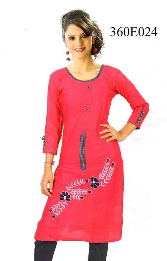 SMC DESIGN 360-PINK FULL SLEEVES RAYON KURTI