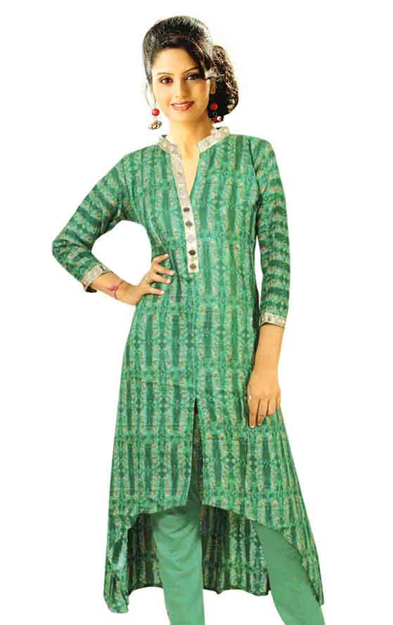 SMC DESIGN 365-GREEN FULL SLEEVES RAYON KURTI