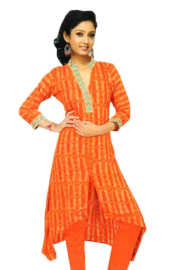 SMC DESIGN 365-ORANGE FULL SLEEVES RAYON KURTI