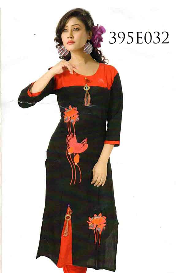 SMC DESIGN 395 EMB-BLACK FULL SLEEVES RAYON KURTI