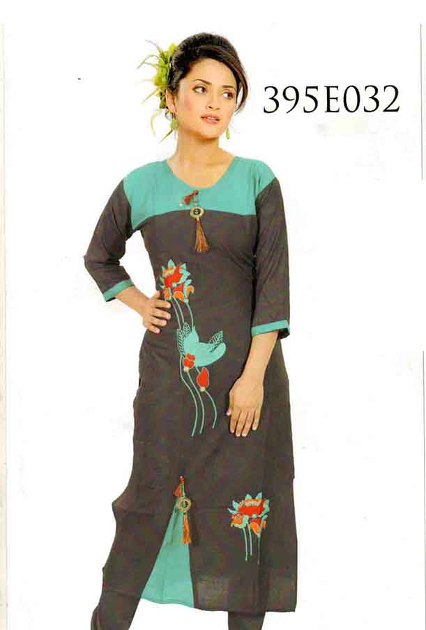SMC DESIGN 395 EMB-GRAY FULL SLEEVES RAYON KURTI