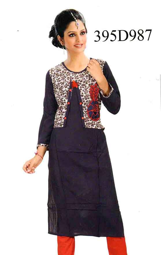 SMC DESIGN 395-NAVY FULL SLEEVES RAYON KURTI