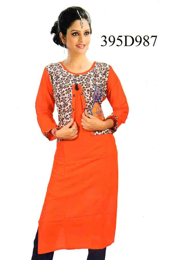 SMC DESIGN 395 D-ORANGE STYLISH RAYON KURTI