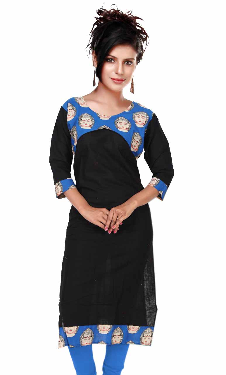KALAMKARI DNO 4501-BLACK/BLUE COTTON SLUB WITH FULL SLEEVES  KURTI