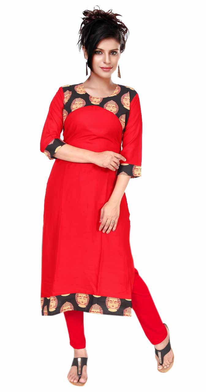 KALAMKARI DNO 4501-RED/BLACK COTTON SLUB WITH FULL SLEEVES  KURTI