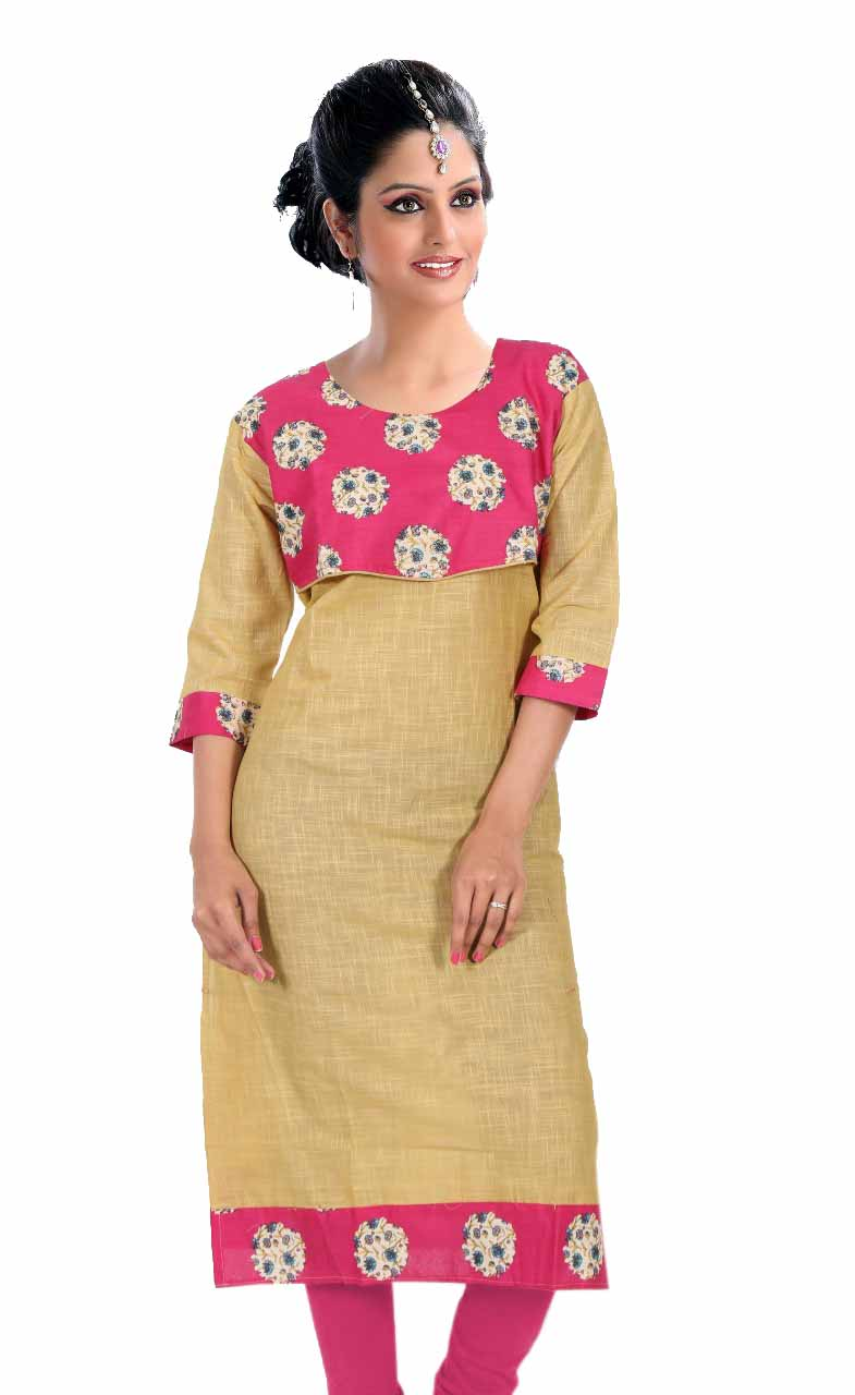 KALAMKARI DNO 4505-BEIGE COTTON SLUB WITH FULL SLEEVES  KURTI