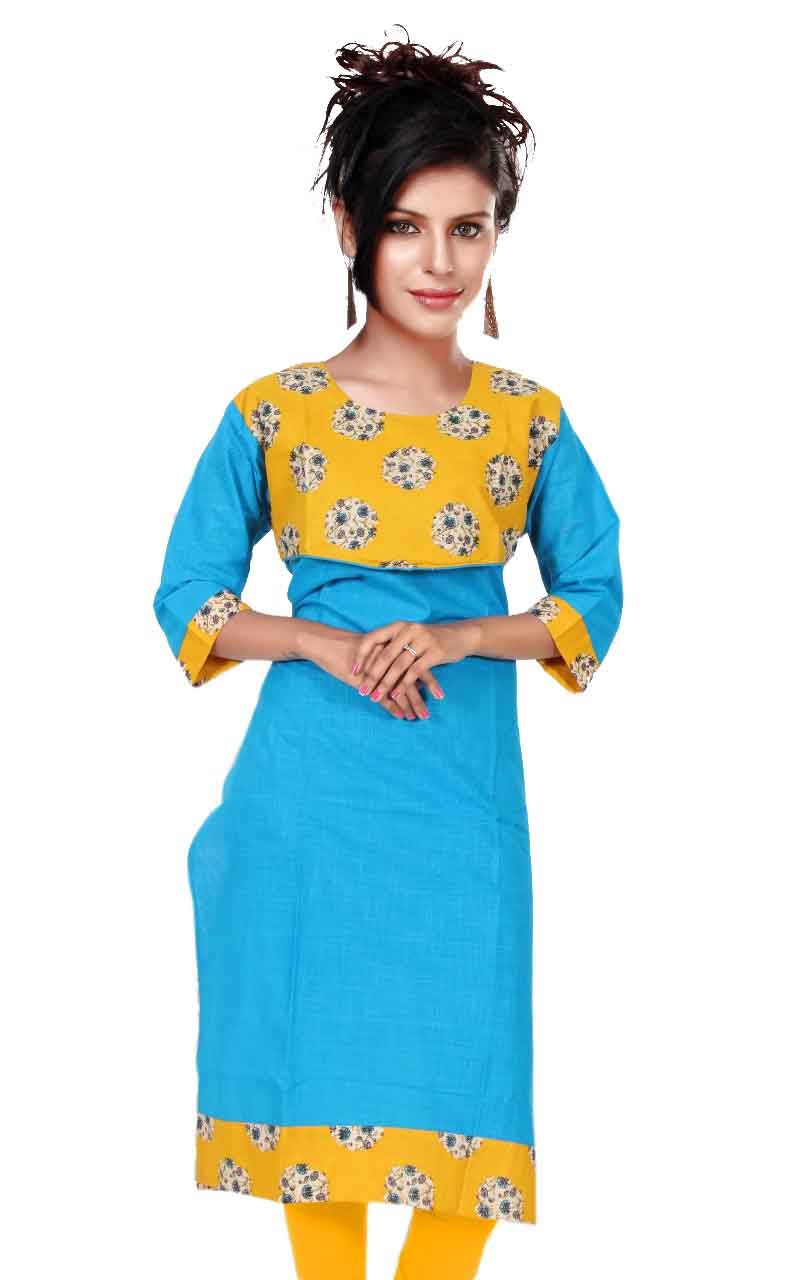 KALAMKARI DNO 4505-BLUE COTTON SLUB WITH FULL SLEEVES  KURTI