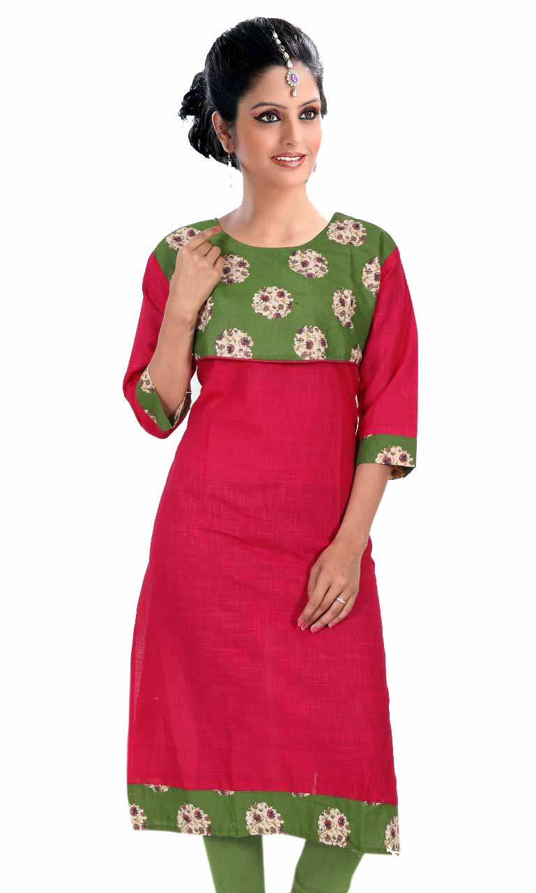 KALAMKARI DNO 4505-PINK COTTON SLUB WITH FULL SLEEVES  KURTI