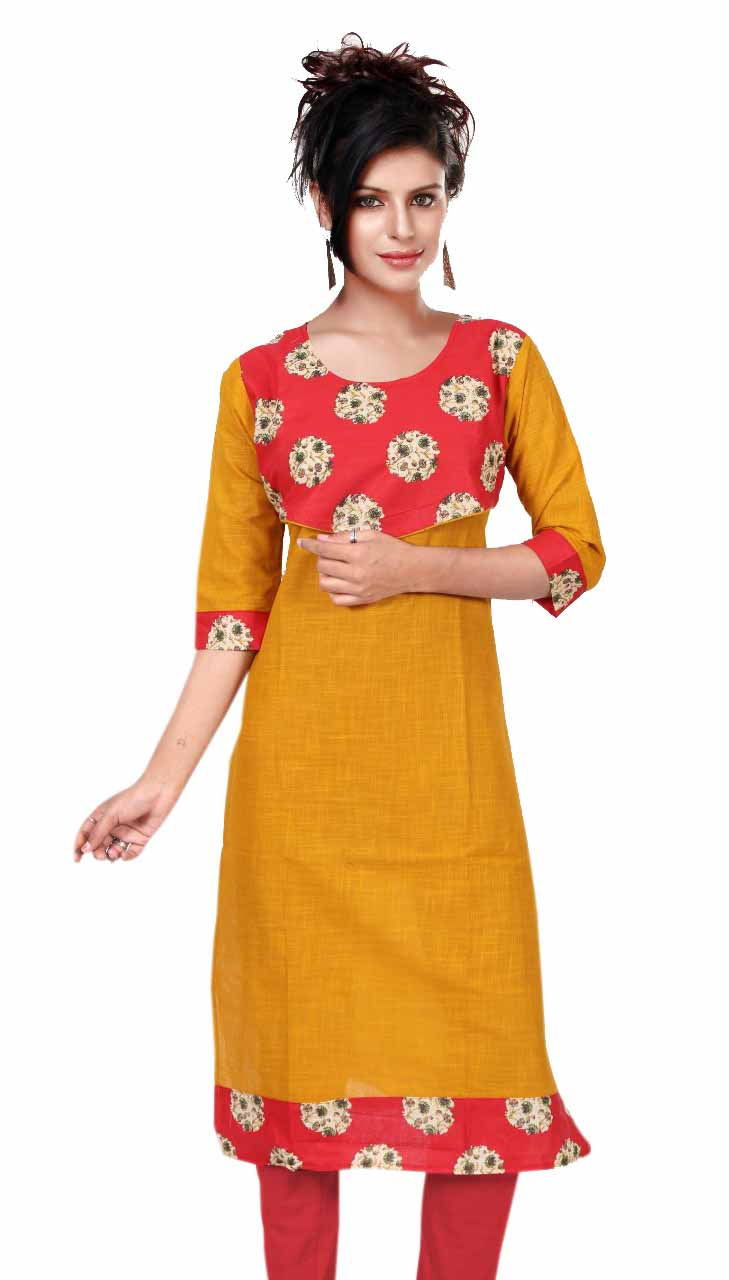 KALAMKARI DNO 4505-YELLOW COTTON SLUB WITH FULL SLEEVES  KURTI