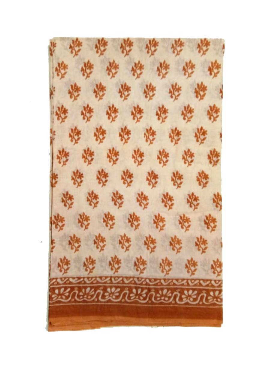 WMN COTTON SAREE WITHOUT BLOUSE-BROWN-AT MAY CTN 19