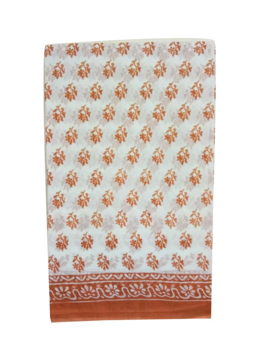 WMN COTTON SAREE WITHOUT BLOUSE-BROWN-AT MAY CTN 23