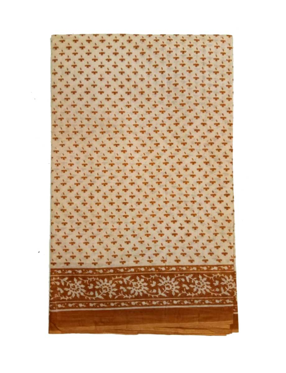 WMN COTTON SAREE WITHOUT BLOUSE-BROWN-AT MAY CTN 26