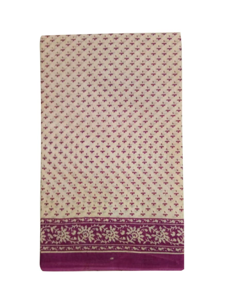 WMN COTTON SAREE WITHOUT BLOUSE-PURPLE-AT MAY CTN 27