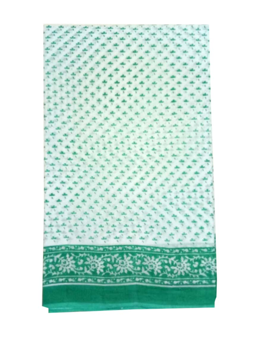 WMN COTTON SAREE WITHOUT BLOUSE-GREEN-AT MAY CTN 31