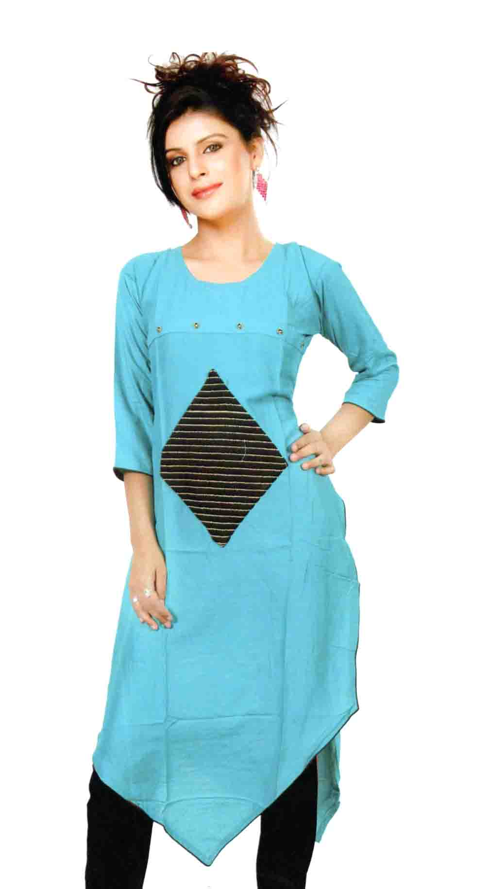 SMC DESIGN 380 D-SEA GREEN STYLISH RAYON KURTI