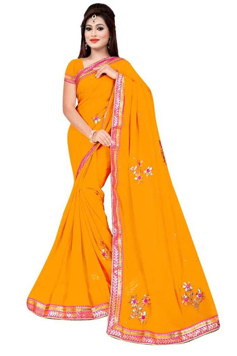 WOMEN SAREE WITH BLOUSE-MUSTURD-DF 3 FLOWER