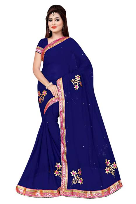 WOMEN SAREE WITH BLOUSE-NAVY BLUE-DF 3 FLOWER