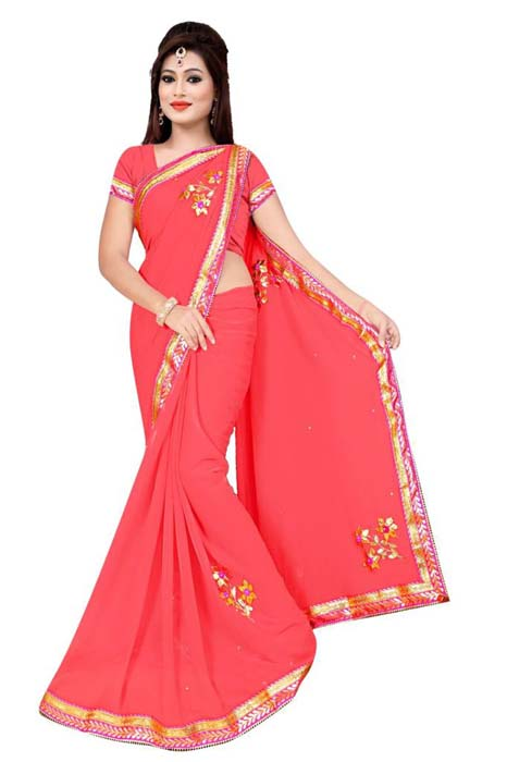 WOMEN SAREE WITH BLOUSE-PINK-DF 3 FLOWER