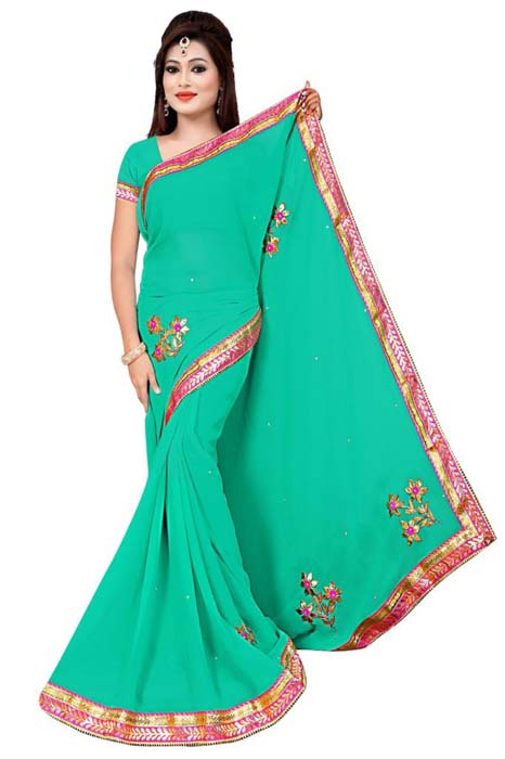 WOMEN SAREE WITH BLOUSE-SEA GREEN -DF 3 FLOWER
