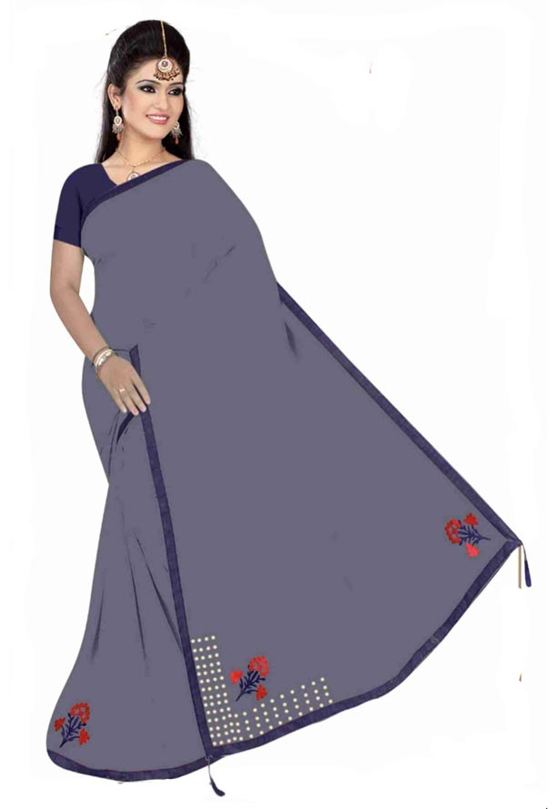 WOMEN SYNTHETIC SATIN SAREE WITH BLOUSE-GRAY-DF 4G 2019