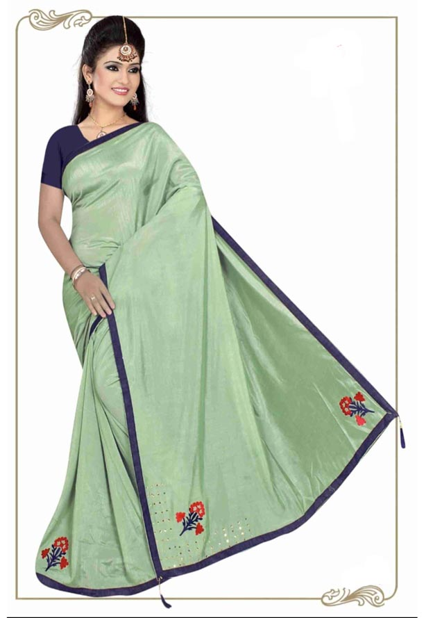 WOMEN SYNTHETIC SATIN SAREE WITH BLOUSE-GREEN-DF 4G 2019
