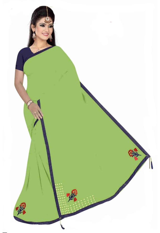 WOMEN SYNTHETIC SATIN SAREE WITH BLOUSE-PARROT GREEN-DF 4G 2019