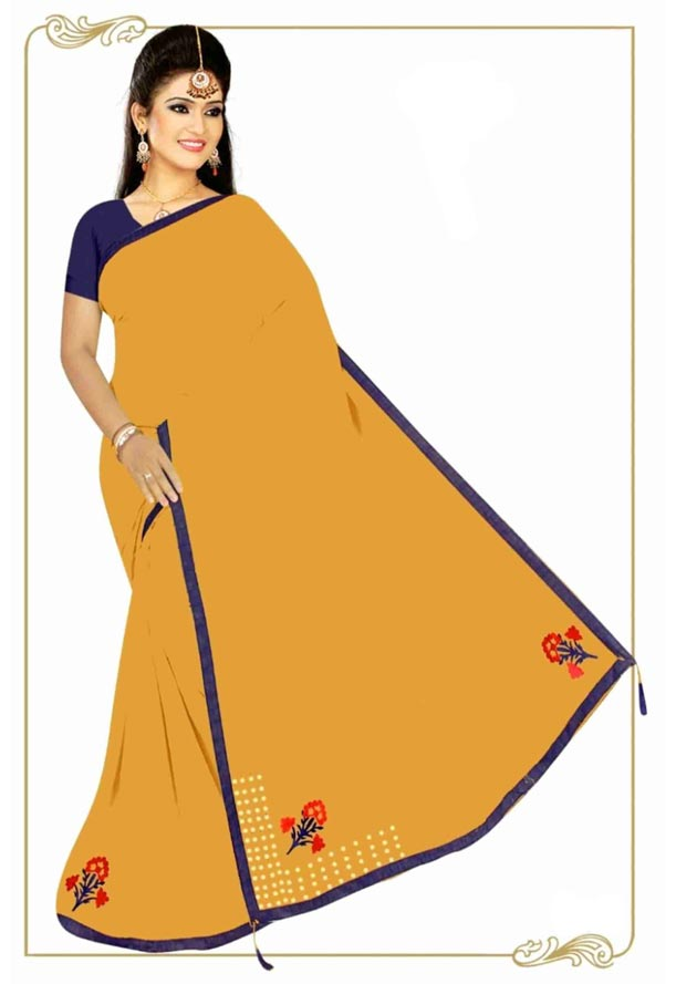 WOMEN SYNTHETIC SATIN SAREE WITH BLOUSE-YELLOW-DF 4G 2019