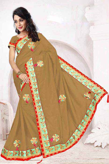 WOMEN SAREE WITH BLOUSE-BROWN-DF 5 STAR