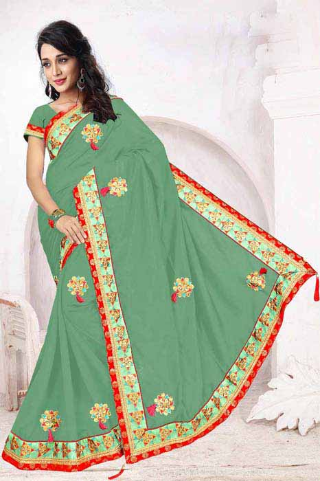 WOMEN SAREE WITH BLOUSE-GREEN-DF 5 STAR