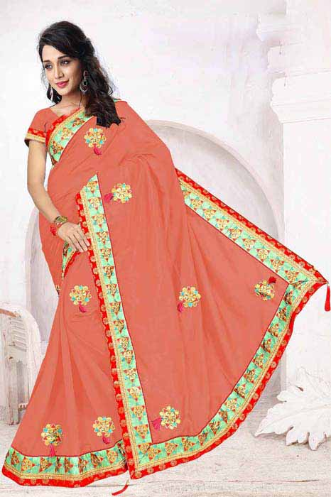 WOMEN SAREE WITH BLOUSE-PEACH-DF 5 STAR