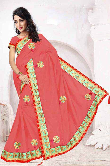 WOMEN SAREE WITH BLOUSE-PINK-DF 5 STAR