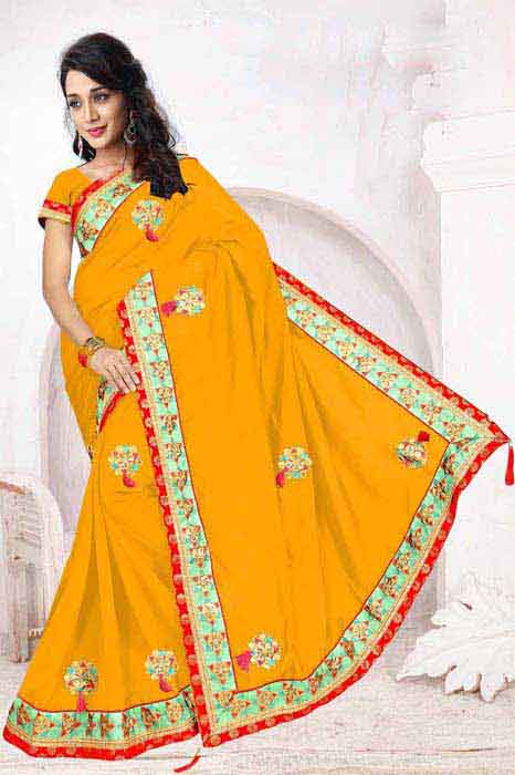 WOMEN SAREE WITH BLOUSE-YELLOW-DF 5 STAR