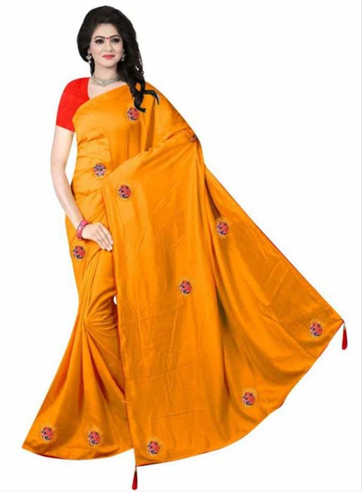 WOMEN SAREE WITH BLOUSE-MUSTURD-DF DIGITAL 3D