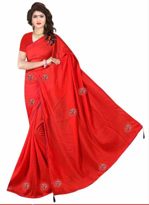 WOMEN SAREE WITH BLOUSE-RED-DF DIGITAL 3D