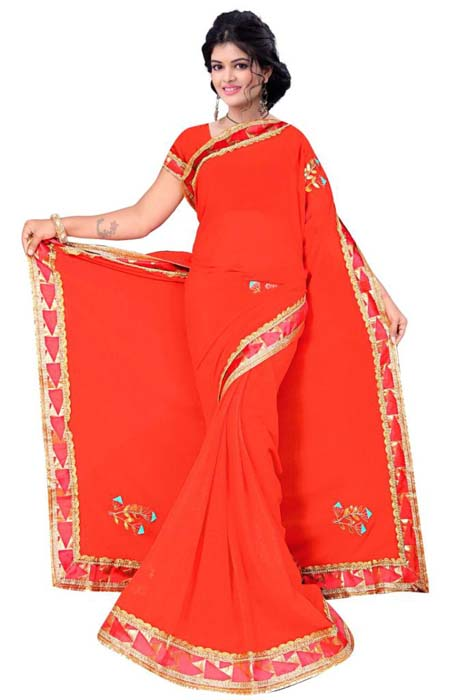 WOMEN SAREE WITH BLOUSE-RED-DF G6 GOTTA