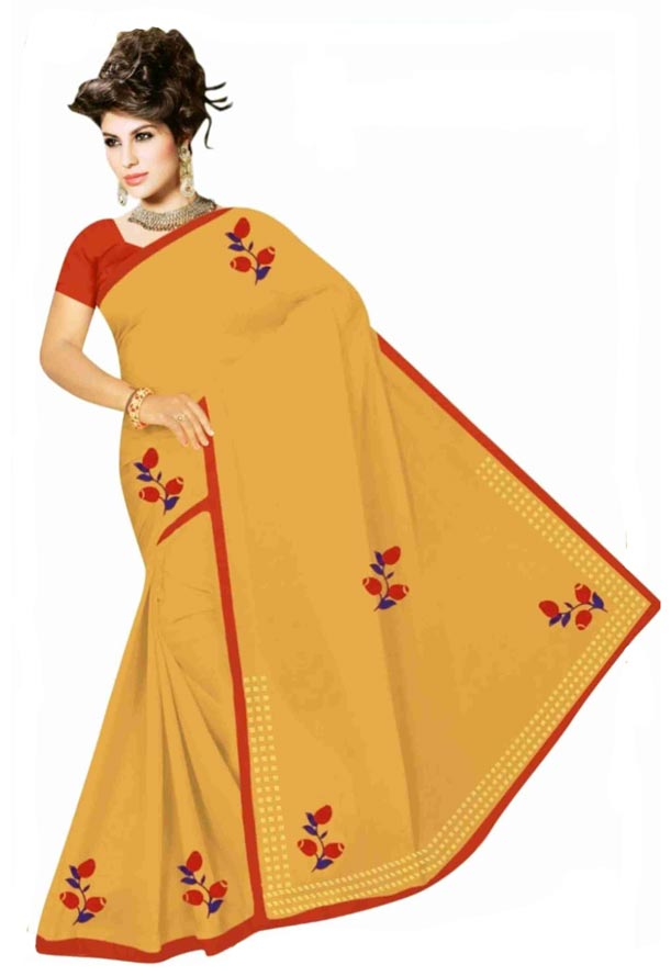 WOMEN SYNTHETIC SATIN SAREE WITH BLOUSE-YELLOW-DF GOODLUCK 2019