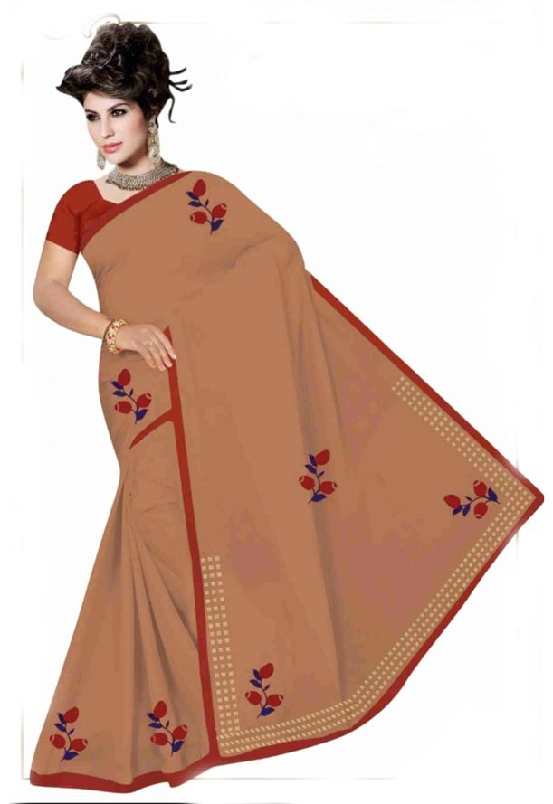 WOMEN SYNTHETIC SATIN SAREE WITH BLOUSE-BROWN-DF GOODLUCK 2019